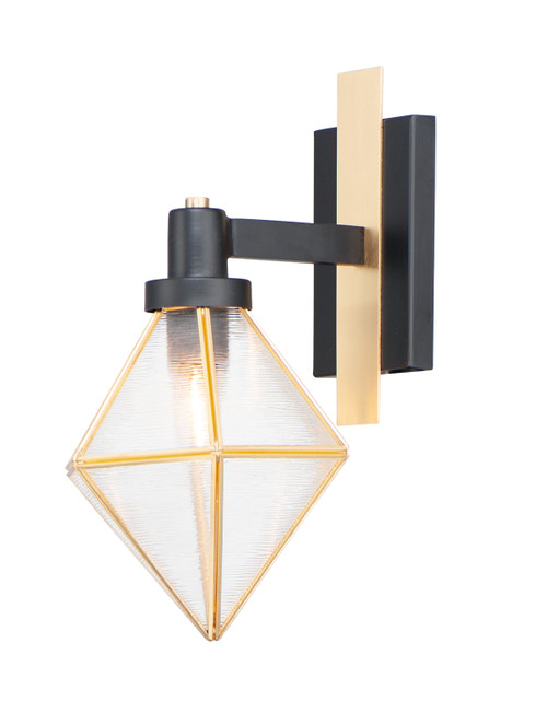 Maxim Adorn 1-Light Outdoor Wall Sconce in Black / Burnished Brass