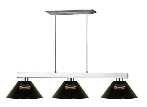 Z-Lite Players Collection 3 Light Billiard Light in Brushed Nickel Finish, 152BN-ARS