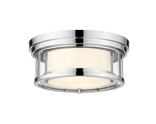Z-Lite Willow Collection 2 Light Flush Mount in Chrome Finish, 426F12-CH