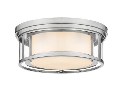 Z-Lite Willow Collection 3 Light Flush Mount in Brushed Nickel Finish, 426F16-BN