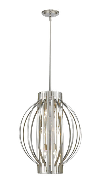 Z-Lite Moundou Collection 6 Light Pendant in Brushed Nickel Finish, 436-20BN