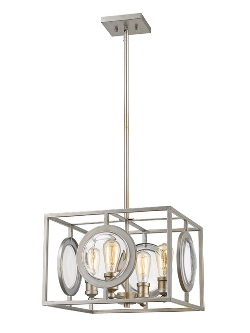 Z-Lite Port Collection 4 Light Pendant in Antique Silver Finish, 448-16AS