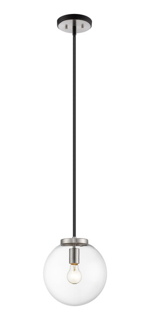 Z-Lite Parsons Collection 1 Light Pendant in Matte Black + Brushed Nickel Finish, 477P10-MB-BN