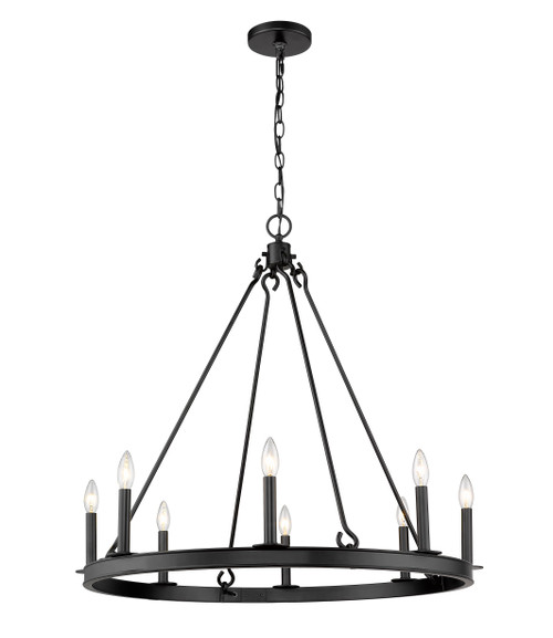 Z-Lite Barclay Collection 8 Light Chandelier in Matte Black Finish, 482R-8MB