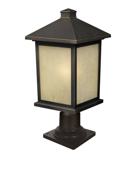 Z-Lite Holbrook Collection 1 Light Outdoor Post Mount Light in Oil Rubbed Bronze Finish, 507PHB-533PM-ORB