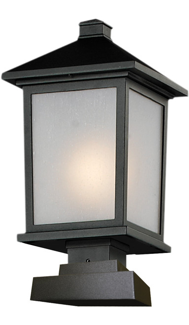 Z-Lite Holbrook Collection Outdoor Post Light in Black Finish, 537PHB-SQPM-BK