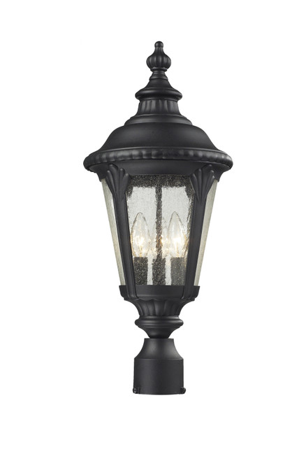 Z-Lite Medow Collection Outdoor Post Light in Black Finish, 545PHM-BK