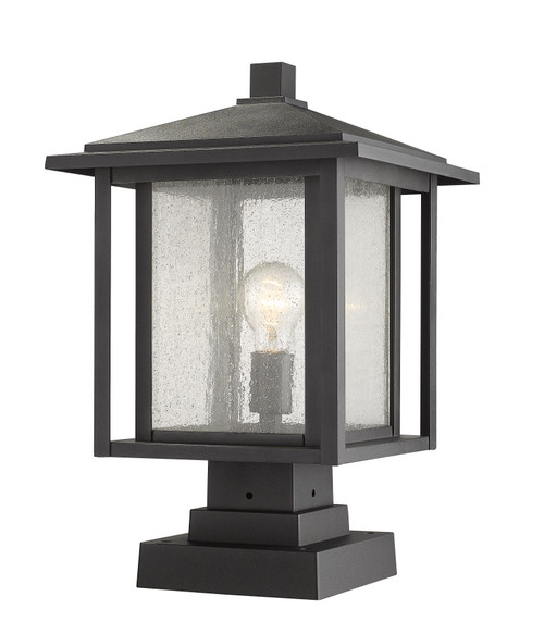 Z-Lite Aspen Collection 1 Light Outdoor Pier Mounted Fixture in Black Finish, 554PHBS-SQPM-BK