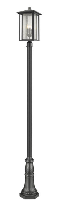 Z-Lite Aspen Collection 3 Light Outdoor Post Mounted Fixture in Black Finish, 554PHXLR-518P-BK