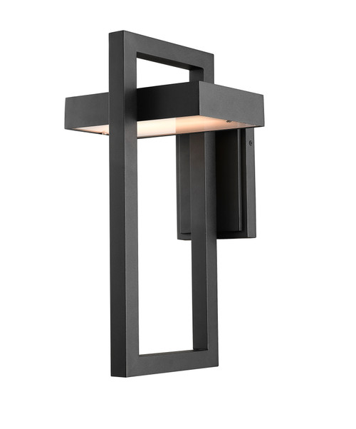 Z-Lite Luttrel Collection 1 Light Outdoor Wall Sconce in Black Finish, 566B-BK-LED