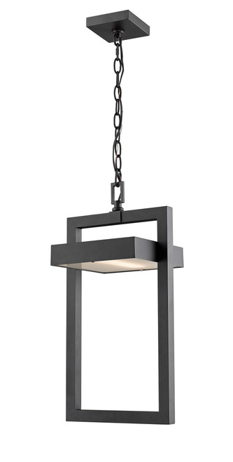 Z-Lite Luttrel Collection 1 Light Outdoor Chain Mount Ceiling Fixture in Black Finish, 566CHB-BK-LED