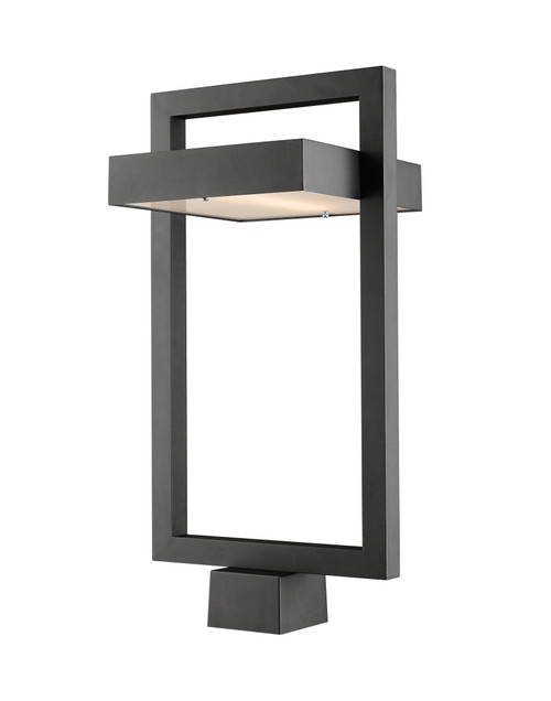 Z-Lite Luttrel Collection 1 Light Outdoor Post Mount Fixture in Black Finish, 566PHBS-BK-LED