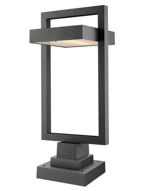 Z-Lite Luttrel Collection 1 Light Outdoor Pier Mounted Fixture in Black Finish, 566PHBS-SQPM-BK-LED