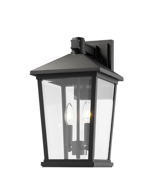 Z-Lite Beacon Collection 2 Light Outdoor Wall Sconce in Black Finish, 568B-BK
