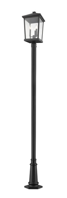 Z-Lite Beacon Collection 3 Light Outdoor Post Mounted Fixture in Black Finish, 568PHXLR-557P-BK