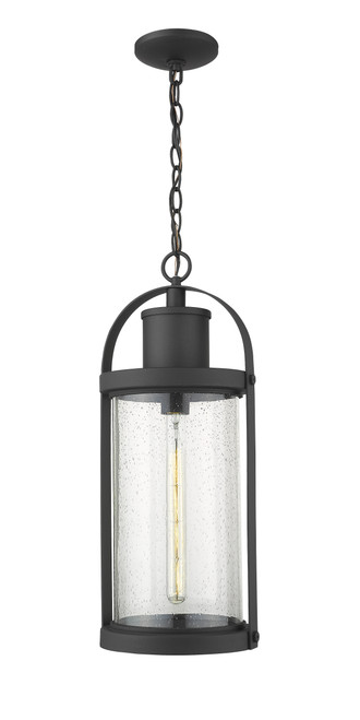 Z-Lite Roundhouse Collection 1 Light Outdoor Chain Mount Ceiling Fixture in Black Finish, 569CHB-BK
