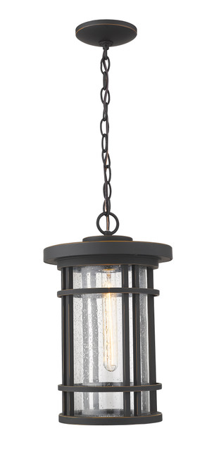 Z-Lite Jordan Collection 1 Light Outdoor Chain Mount Ceiling Fixture in Oil Rubbed Bronze Finish, 570CHB-ORB