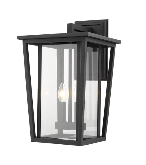 Z-Lite Seoul Collection 2 Light Outdoor Wall Sconce in Black Finish, 571B-BK