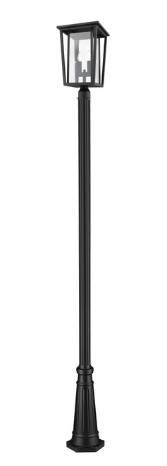 Z-Lite Seoul Collection 2 Light Outdoor Post Mounted Fixture in Black Finish, 571PHBR-519P-BK