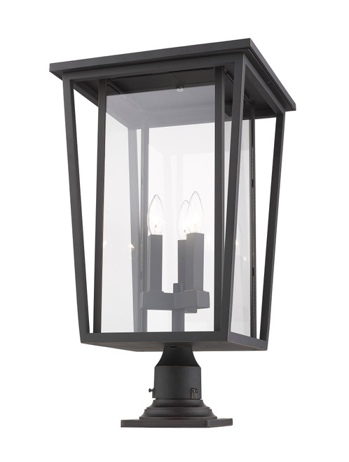Z-Lite Seoul Collection 3 Light Outdoor Pier Mounted Fixture in Oil Rubbed Bronze Finish, 571PHXLR-533PM-ORB