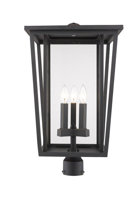 Z-Lite Seoul Collection 3 Light Outdoor Post Mount Fixture in Oil Rubbed Bronze Finish, 571PHXLR-ORB