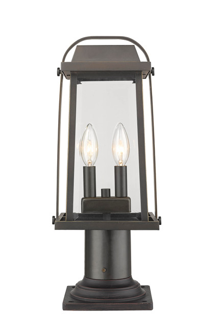 Z-Lite Millworks Collection 2 Light Outdoor Pier Mounted Fixture in Oil Rubbed Bronze Finish, 574PHMR-533PM-ORB
