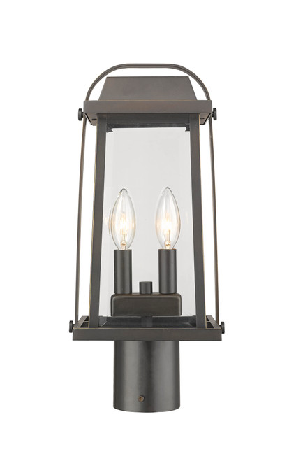 Z-Lite Millworks Collection 2 Light Outdoor Post Mount Fixture in Oil Rubbed Bronze Finish, 574PHMR-ORB