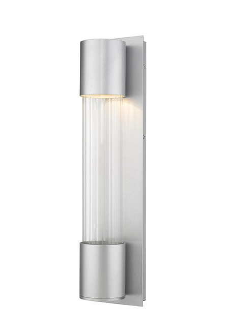 Z-Lite Striate Collection 1 Light Outdoor Wall Sconce in Silver Finish, 575M-SL-LED