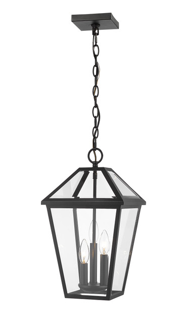 Z-Lite Talbot Collection 3 Light Outdoor Chain Mount Ceiling Fixture in Black Finish, 579CHB-BK