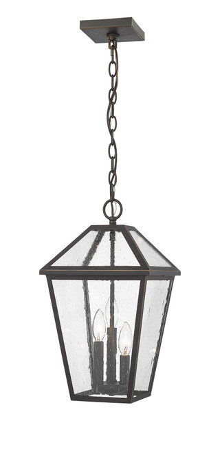 Z-Lite Talbot Collection 3 Light Outdoor Chain Mount Ceiling Fixture in Oil Rubbed Bronze Finish, 579CHB-ORB