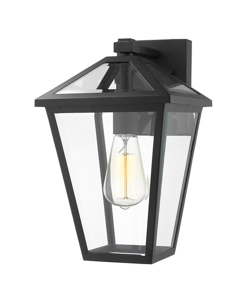 Z-Lite Talbot Collection 1 Light Outdoor Wall Sconce in Black Finish, 579M-BK