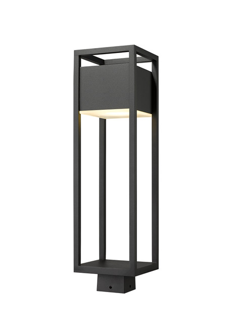 Z-Lite Barwick Collection 1 Light Outdoor Post Mount Fixture in Black Finish, 585PHBS-BK-LED