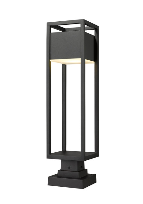 Z-Lite Barwick Collection 1 Light Outdoor Pier Mounted Fixture in Black Finish, 585PHBS-SQPM-BK-LED