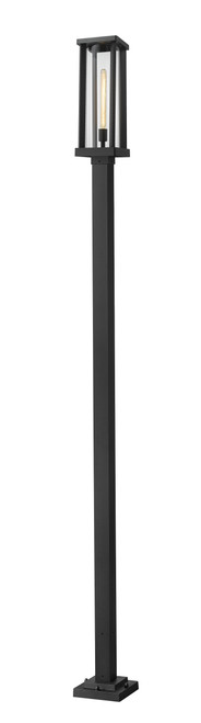Z-Lite Glenwood Collection 1 Light Outdoor Post Mounted Fixture in Black Finish, 586PHBS-536P-BK