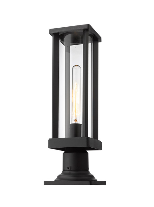 Z-Lite Glenwood Collection 1 Light Outdoor Pier Mounted Fixture in Black Finish, 586PHMR-533PM-BK