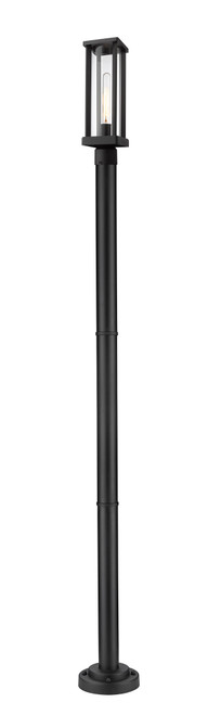 Z-Lite Glenwood Collection 1 Light Outdoor Post Mounted Fixture in Black Finish, 586PHMR-567P-BK