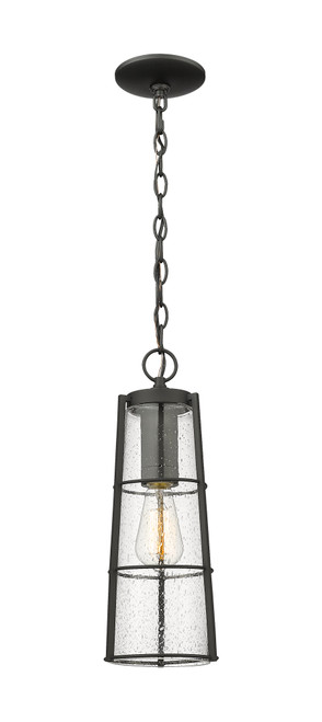 Z-Lite Helix Collection 1 Light Outdoor Chain Mount Ceiling Fixture in Black Finish, 591CHB-BK