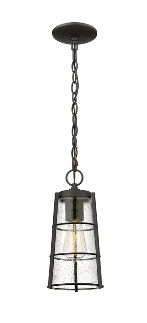 Z-Lite Helix Collection 1 Light Outdoor Chain Mount Ceiling Fixture in Black Finish, 591CHM-BK