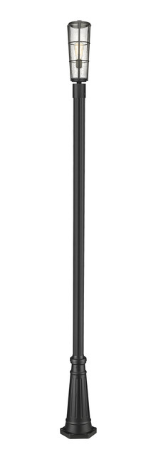 Z-Lite Helix Collection 1 Light Outdoor Post Mounted Fixture in Black Finish, 591PHB-519P-BK