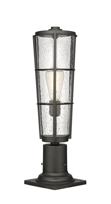 Z-Lite Helix Collection 1 Light Outdoor Pier Mounted Fixture in Black Finish, 591PHB-533PM-BK