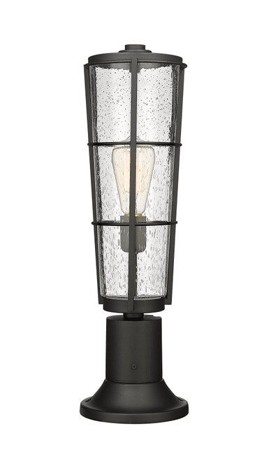 Z-Lite Helix Collection 1 Light Outdoor Pier Mounted Fixture in Black Finish, 591PHB-553PM-BK