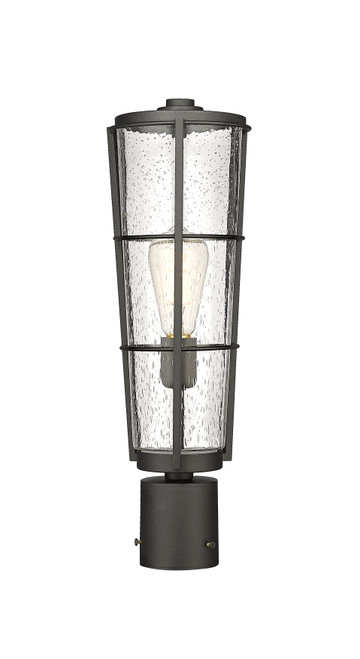 Z-Lite Helix Collection 1 Light Outdoor Post Mount Fixture in Black Finish, 591PHB-BK