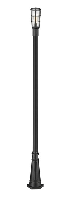 Z-Lite Helix Collection 1 Light Outdoor Post Mounted Fixture in Black Finish, 591PHM-519P-BK