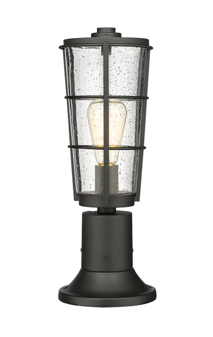 Z-Lite Helix Collection 1 Light Outdoor Pier Mounted Fixture in Black Finish, 591PHM-553PM-BK