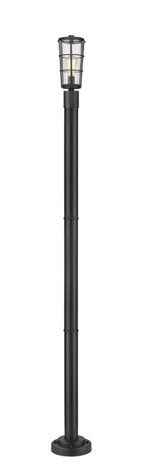 Z-Lite Helix Collection 1 Light Outdoor Post Mounted Fixture in Black Finish, 591PHM-567P-BK
