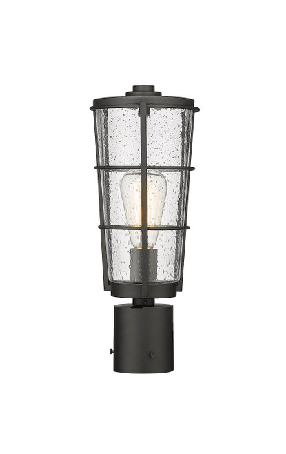 Z-Lite Helix Collection 1 Light Outdoor Post Mount Fixture in Black Finish, 591PHM-BK