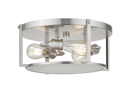 Z-Lite Halcyon Collection 3 Light Flush Mount in Brushed Nickel Finish, 723F15-BN