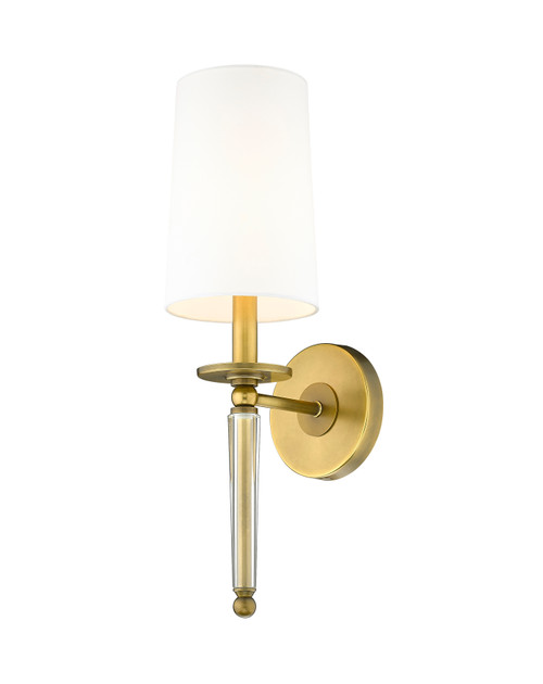 Z-Lite Avery Collection 1 Light Wall Sconce in Rubbed Brass Finish, 810-1S-RB-WH