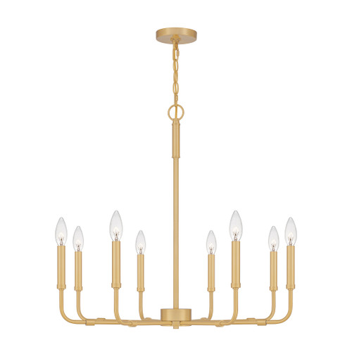 Quoizel 8 Light Abner Chandelier in Aged Brass Finish, ABR5028AB