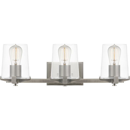 Quoizel 3 Light Perry Bath Light in Antique Nickel Finish, PRY8624AN